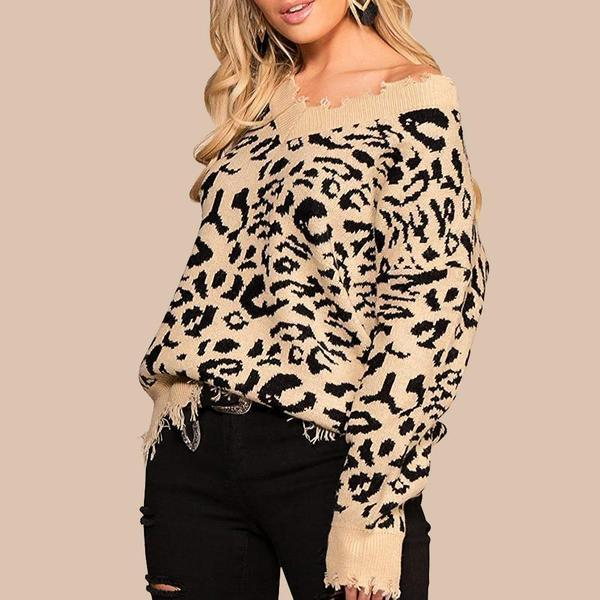 Leopard V-Neck Jumper of Distress