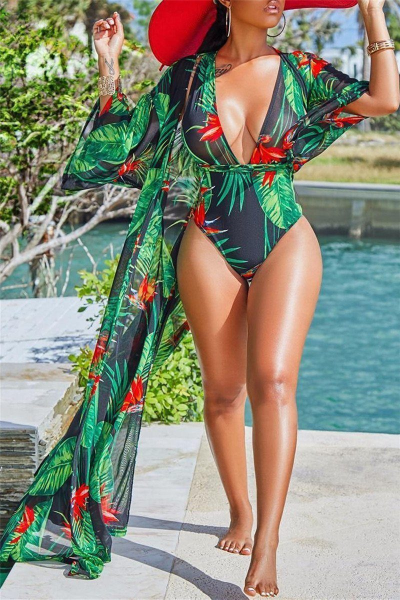 Printed One PC Swimwear&Cover Up