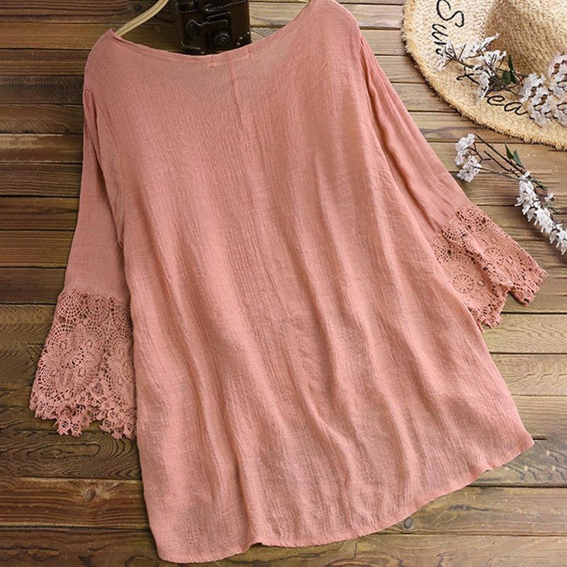 Jacquard Pleated Lace Hollow Out V-neck Plus Size Blouse