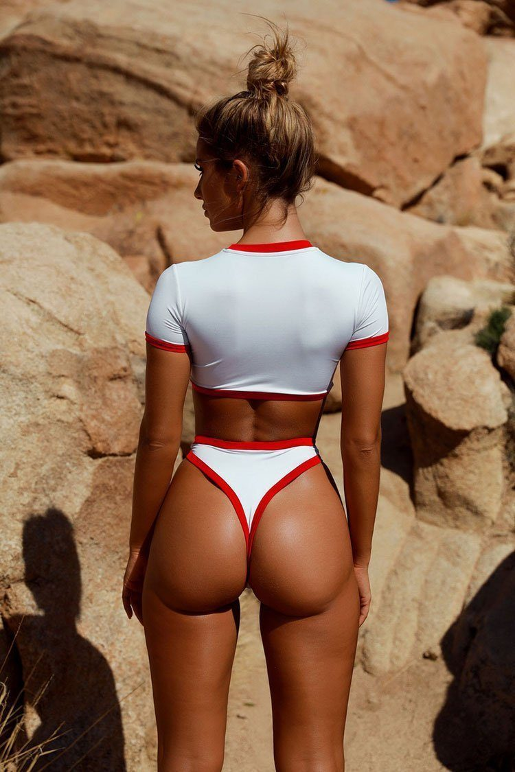 New Contrast Color Edge High Waist Crop Bikini Swimsuit in Red.MC