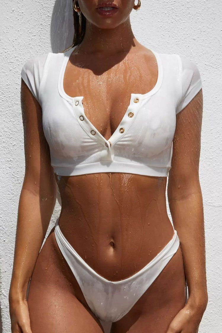 New High Cut Ribbed Short Sleeve Crop Bikini Swimsuit in White.MC