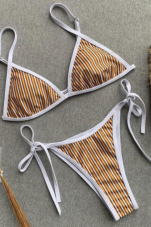 New Tied Side String Triangle Brazilian Bikini Swimsuit in Striped.MC