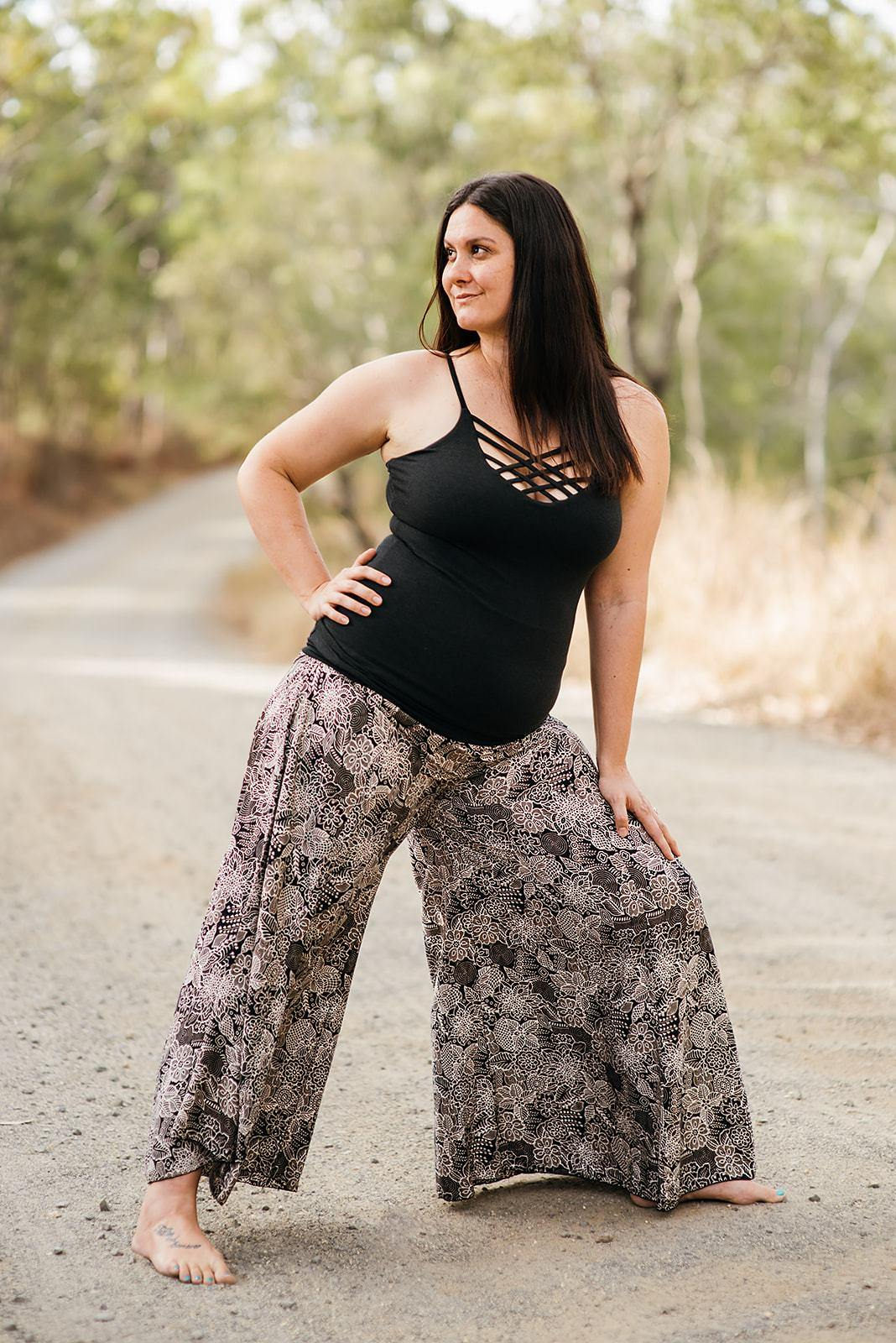 Tantrika Phat Pants Black & White Flowers
