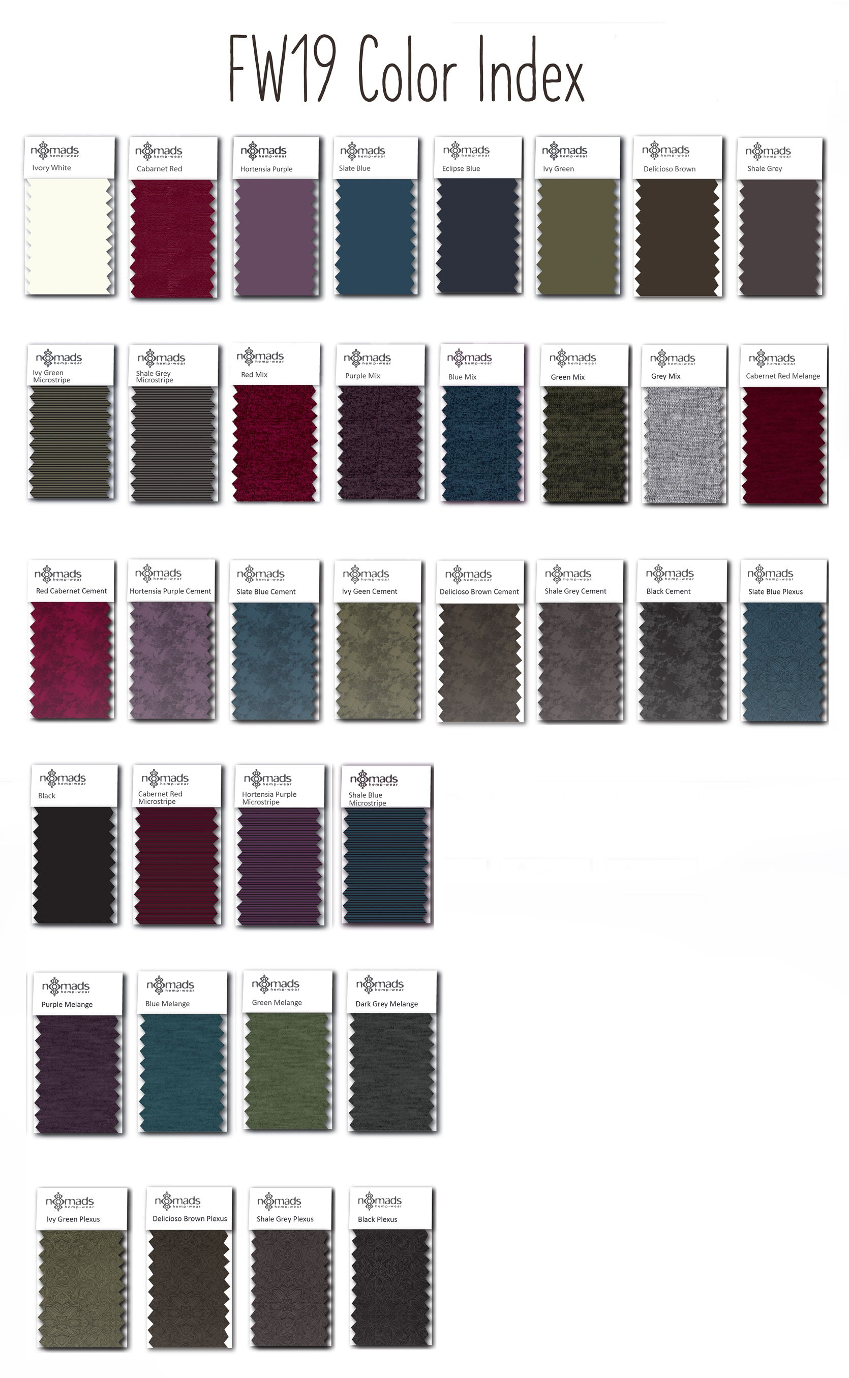 FW19 colour chart