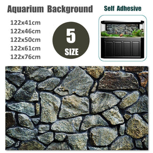 5 Sizes Rock Stone PVC Aquarium Background Poster Fish Tank Wall Picture Landscaping Painting Decorations Self Adhesive