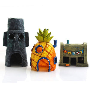 11pcs/set SpongeBob Fish Tank Micro Landscape Decor Pineapple House Fish Shrimp Hide House Resin Ornament Aquarium Landscaping