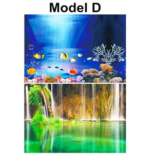 PVC Double Side Aquarium Background Poster Decoration Fish Tank Wall Lanscaping Decorative Background Poster 30/40/50cm(Height)