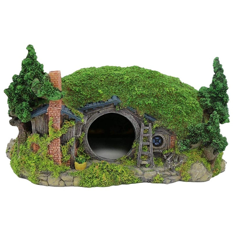 Aquarium Decoration House Reptile Hole House Shelter Fish Tank Ornament Rockery Garden Greening