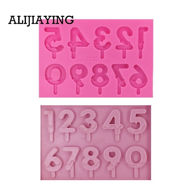 M1237 DIY letters&number fondant mols for ice cream resin mold silicone mold for baking wedding cakes cake decoration