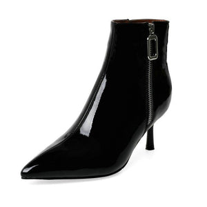 EshtonShero New Zipper boots Women Shoes ankle boots spring winter elegant Thin high heels shoes female Plus size Size 3-8