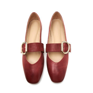 EshtonShero Flats Loafers Woman Summer Square Toe Ballet Flat Casual Slip On Shoes Women Comfort  Flat Leather Shoes Size 3-9