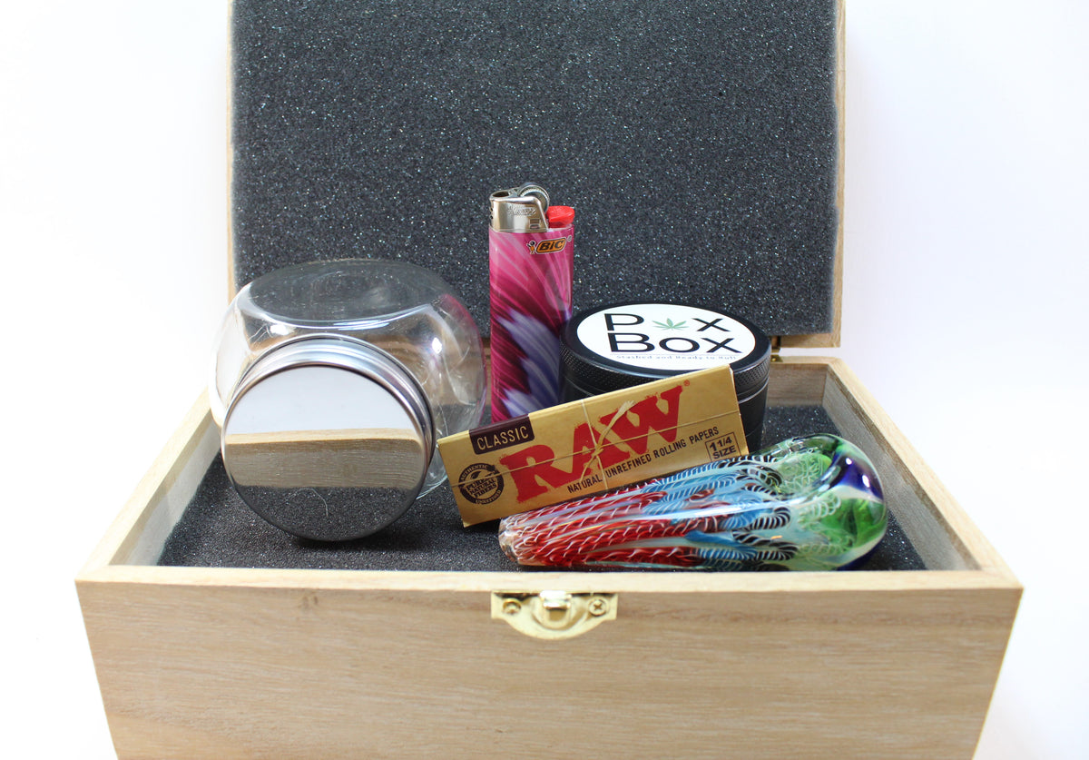 Uncut Pox Box with Jar, Grinder, Lighter, Pipe, and Papers