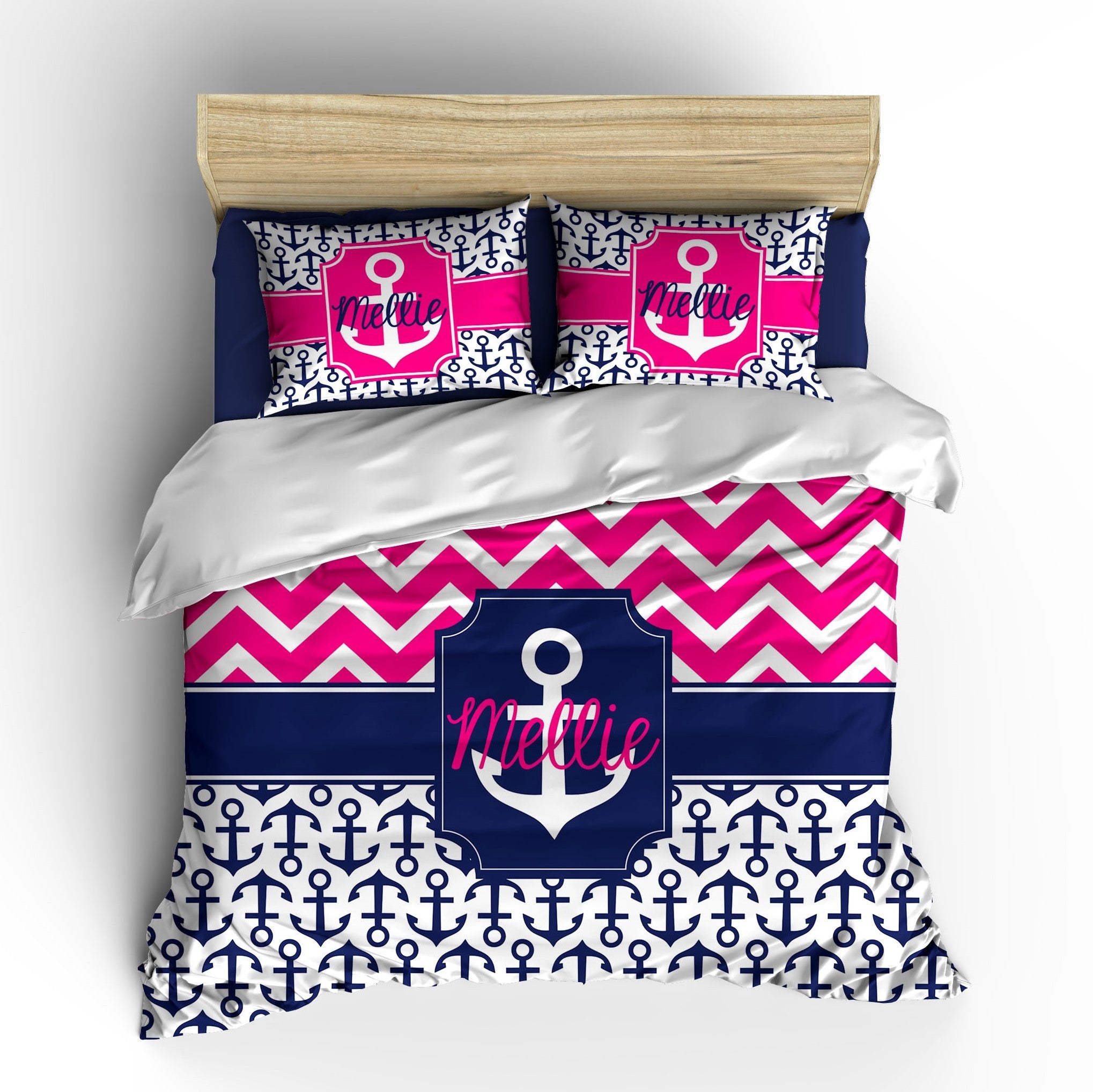 Chevron Anchor Personalized Bedding