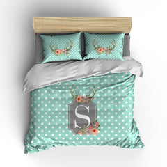 Floral Antler Personalized Bedding