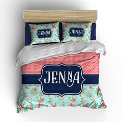 Vintage Nauticle Nights Personalized Bedding