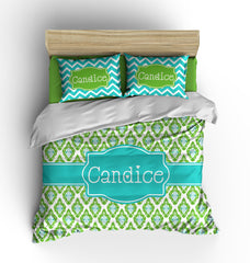 Lemon Lime Ikat Personalized Bedding