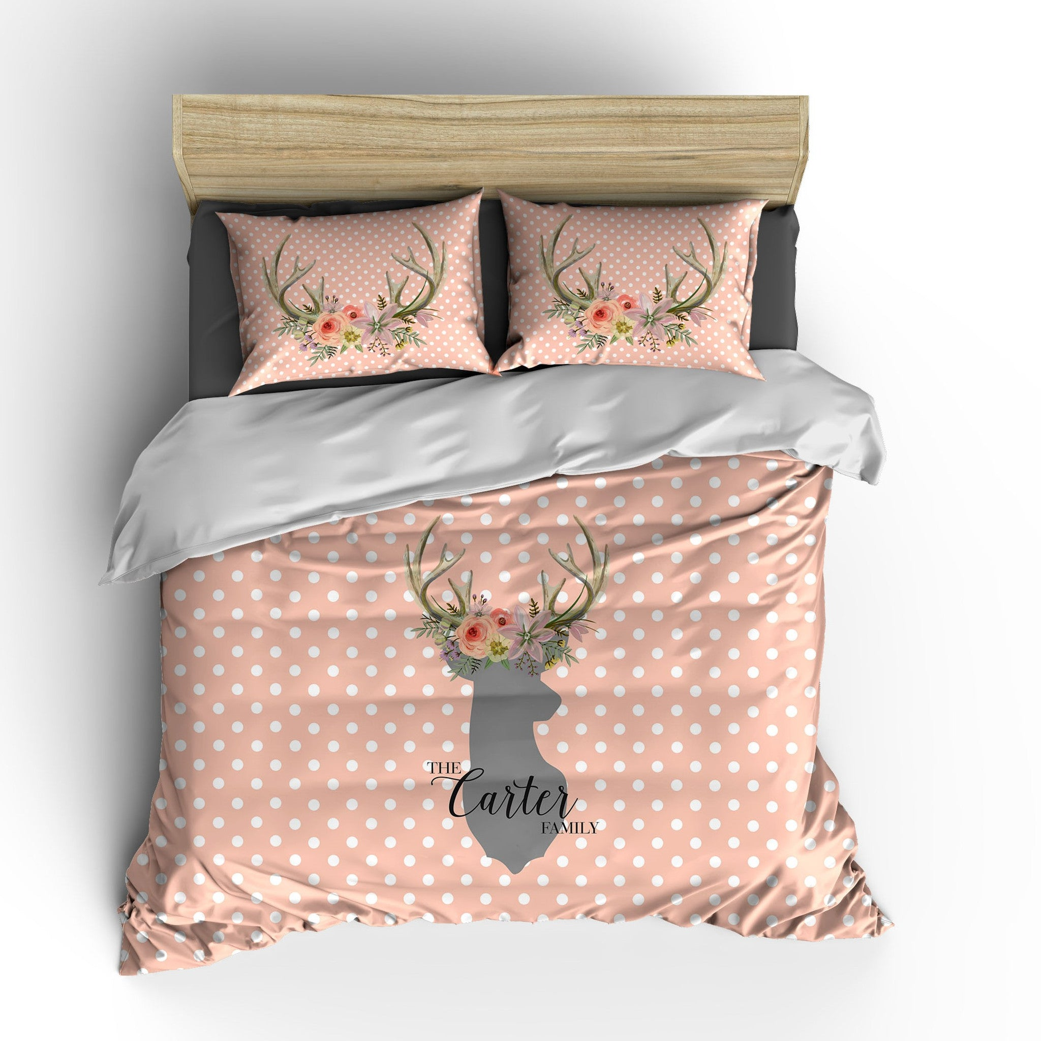 Polka Dot Deer Head Personalized Bedding
