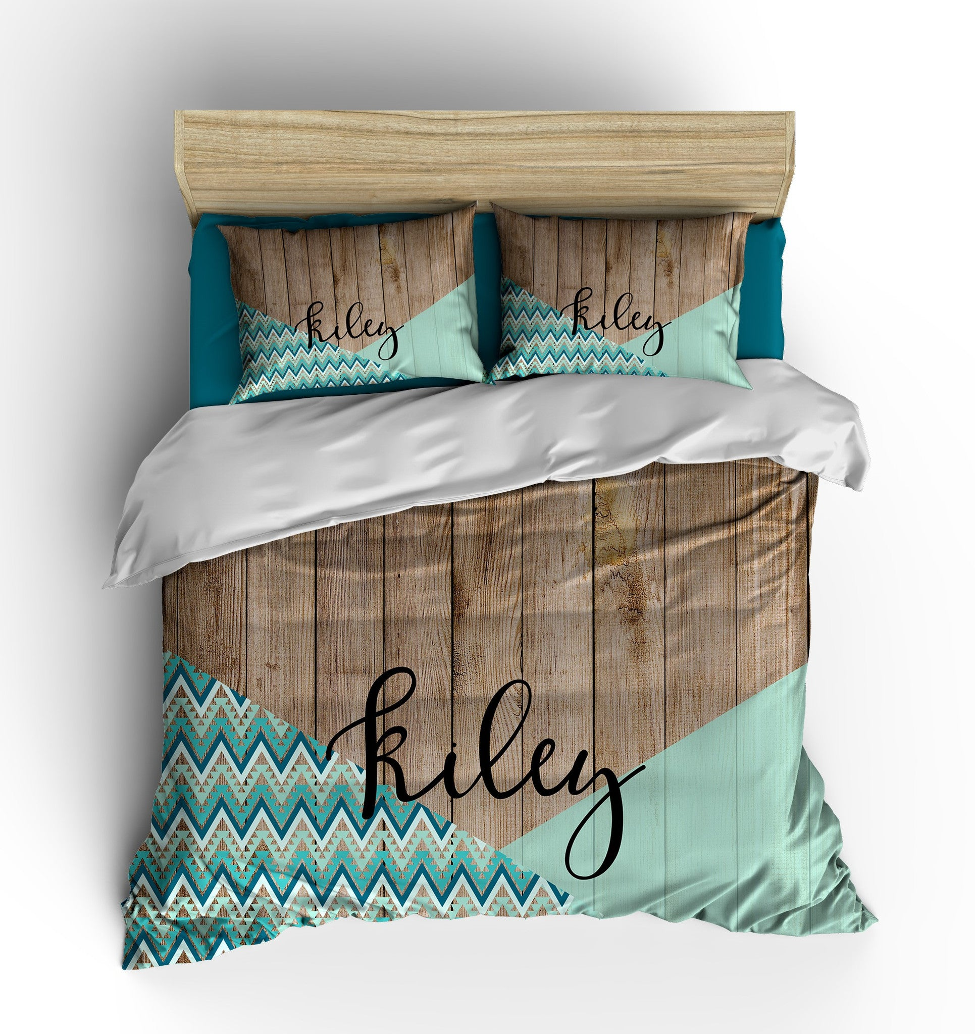 Aqua Tribal Cross Personalized Bedding