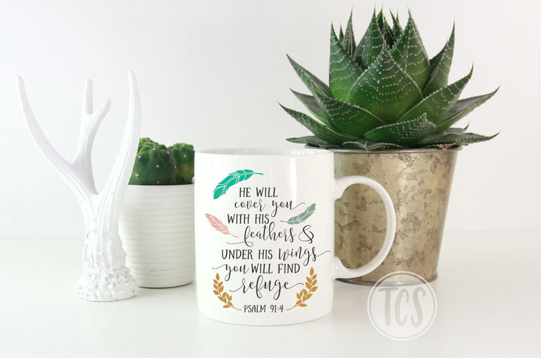 He Will Cover you with his Feathers Coffee Mug (CM1015)