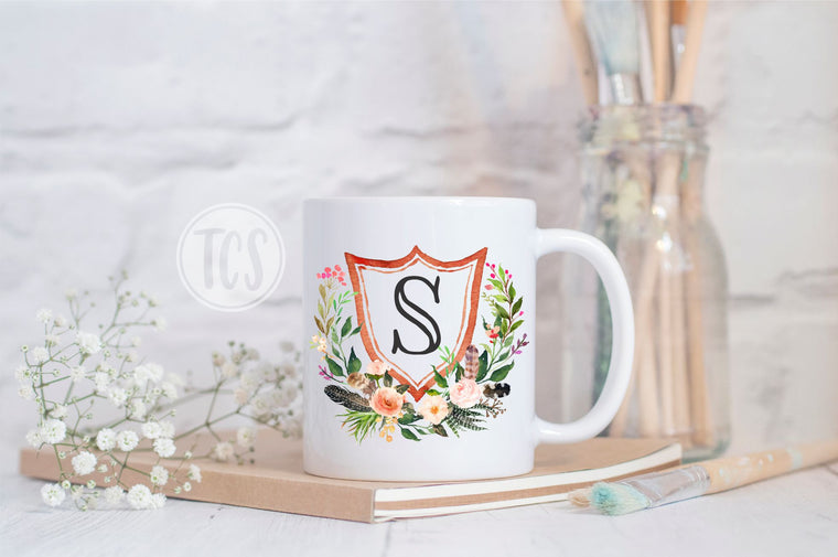 Shield Floral Monogram Coffee Mug (CM1054)
