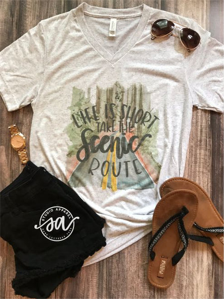 Life is Short Take the Scenic Route Statement Tee