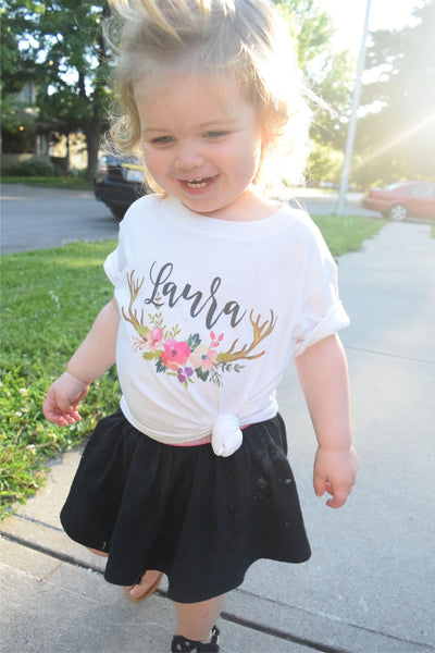 Deer Antlers and Birth Date Toddler Infant Tee