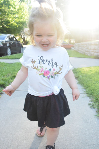 Personalized Hipster Deer Toddler Infant Tee