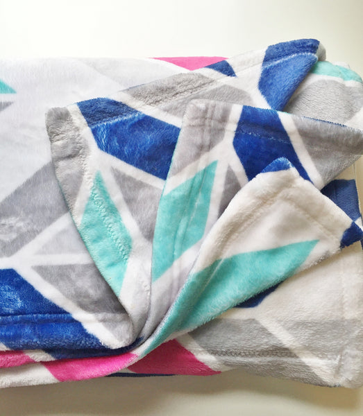 Aqua Aztec Personalized Plush Blanket (PB1063)