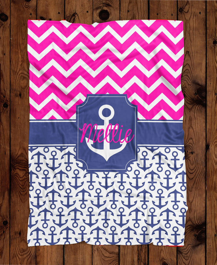 Anchor Chevron Personalized Plush Blanket (PB1001)