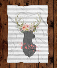 Rugby Stripe Floral Antlers Personalized Plush Blanket (PB1056)