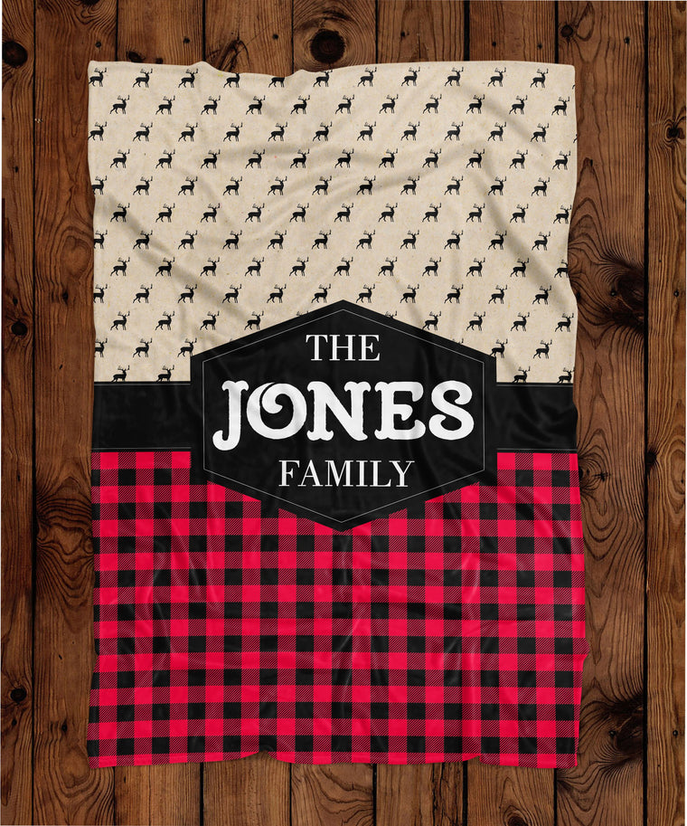 Buffalo Plaid Personalized Plush Blanket (PB1057)