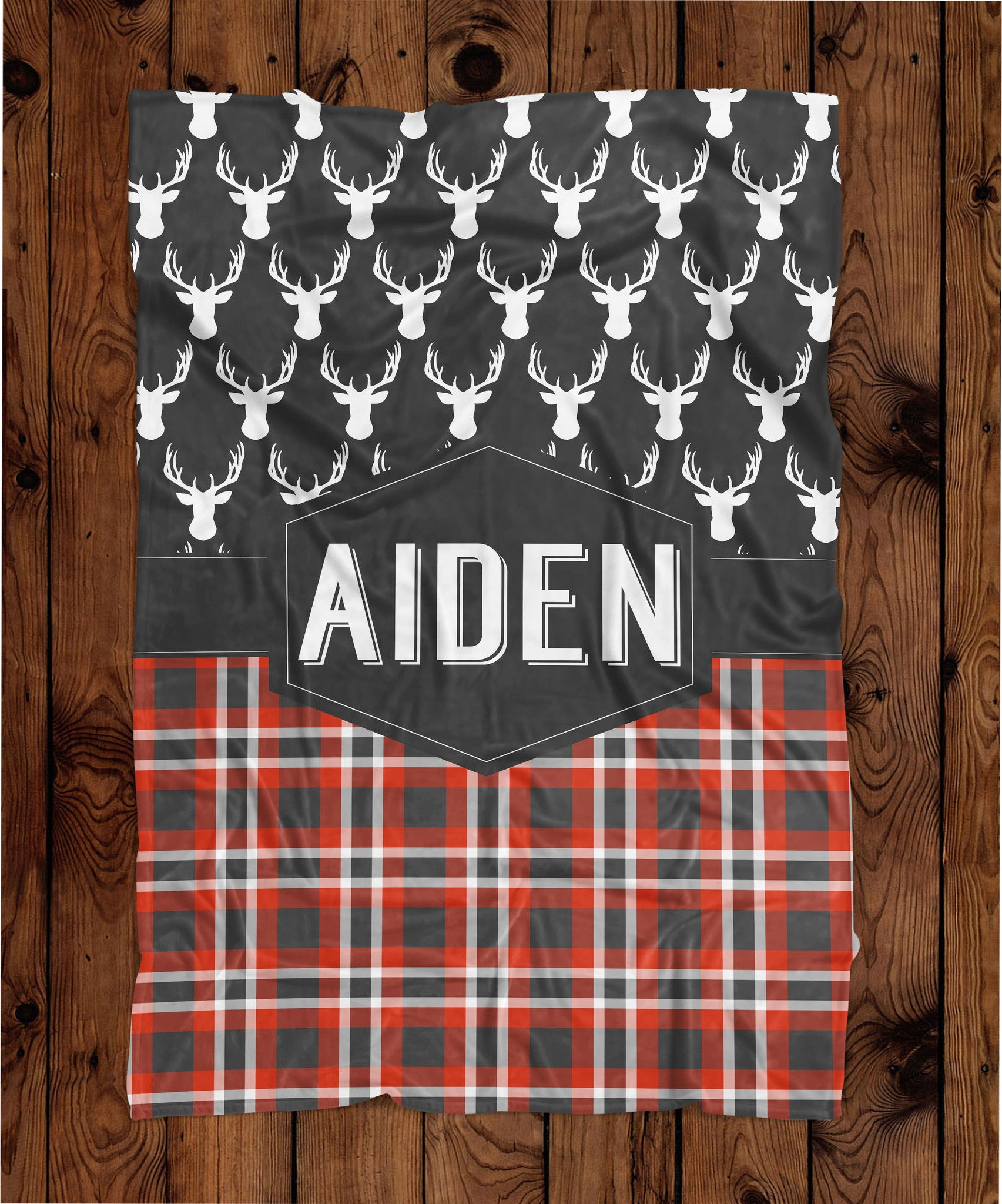 Plaid and Deer Head Personalized Plush Blanket (PB1058)