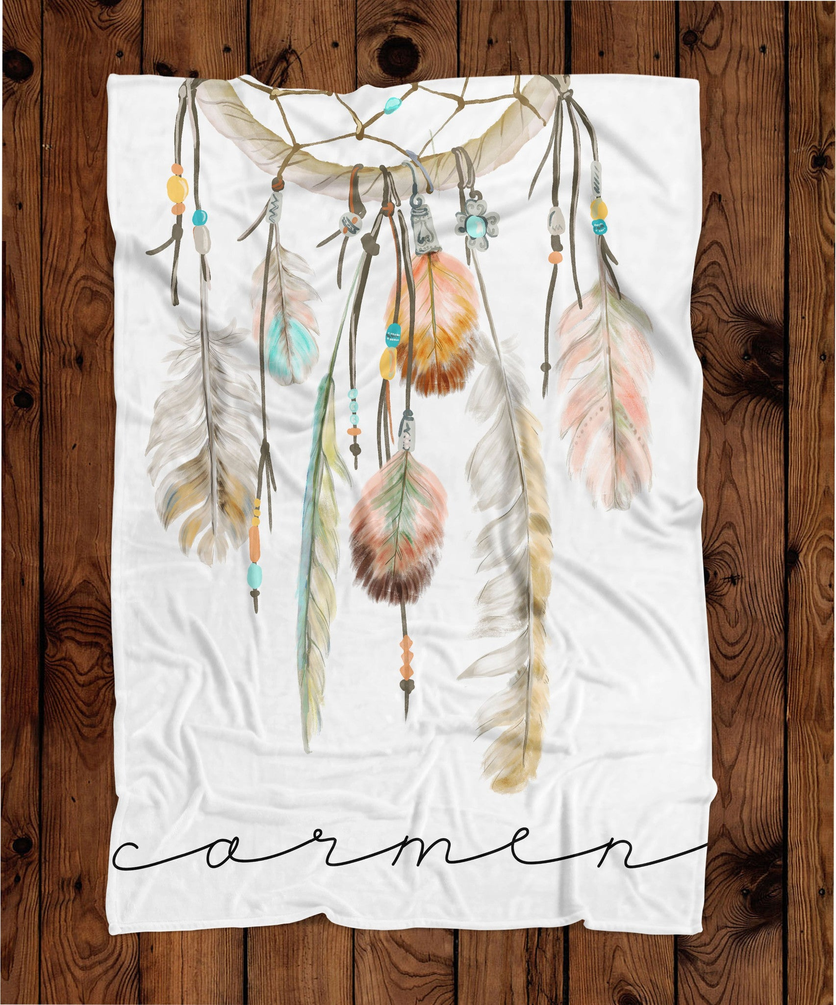 Boho Dream Catcher Personalized Plush Blanket (PB1059)