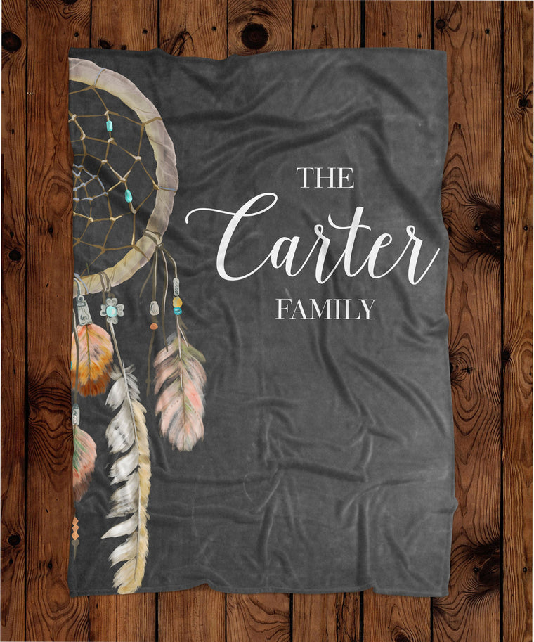 Boho Chalkboard Dream Catcher Personalized Plush Blanket (PB1060)