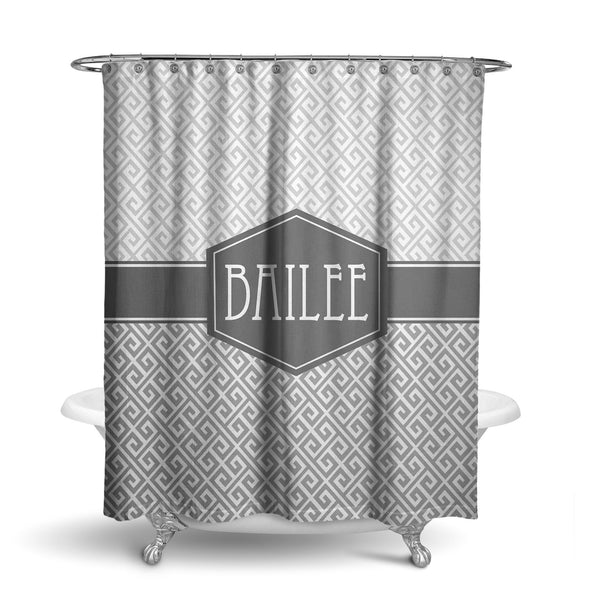Diagonal Greek Monogram Shower Curtain (SC1009)