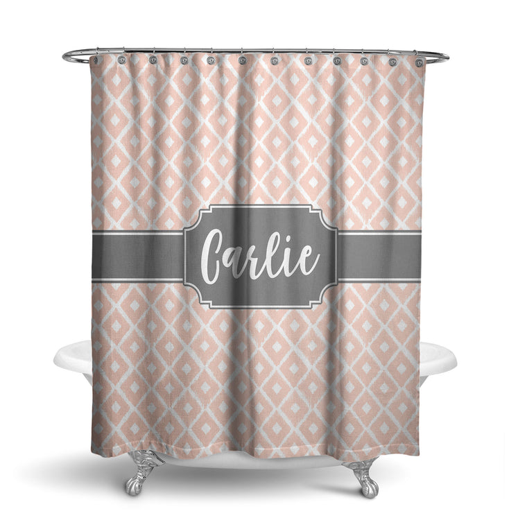 Ikat Diamonds Monogram Shower Curtain (SC1014)