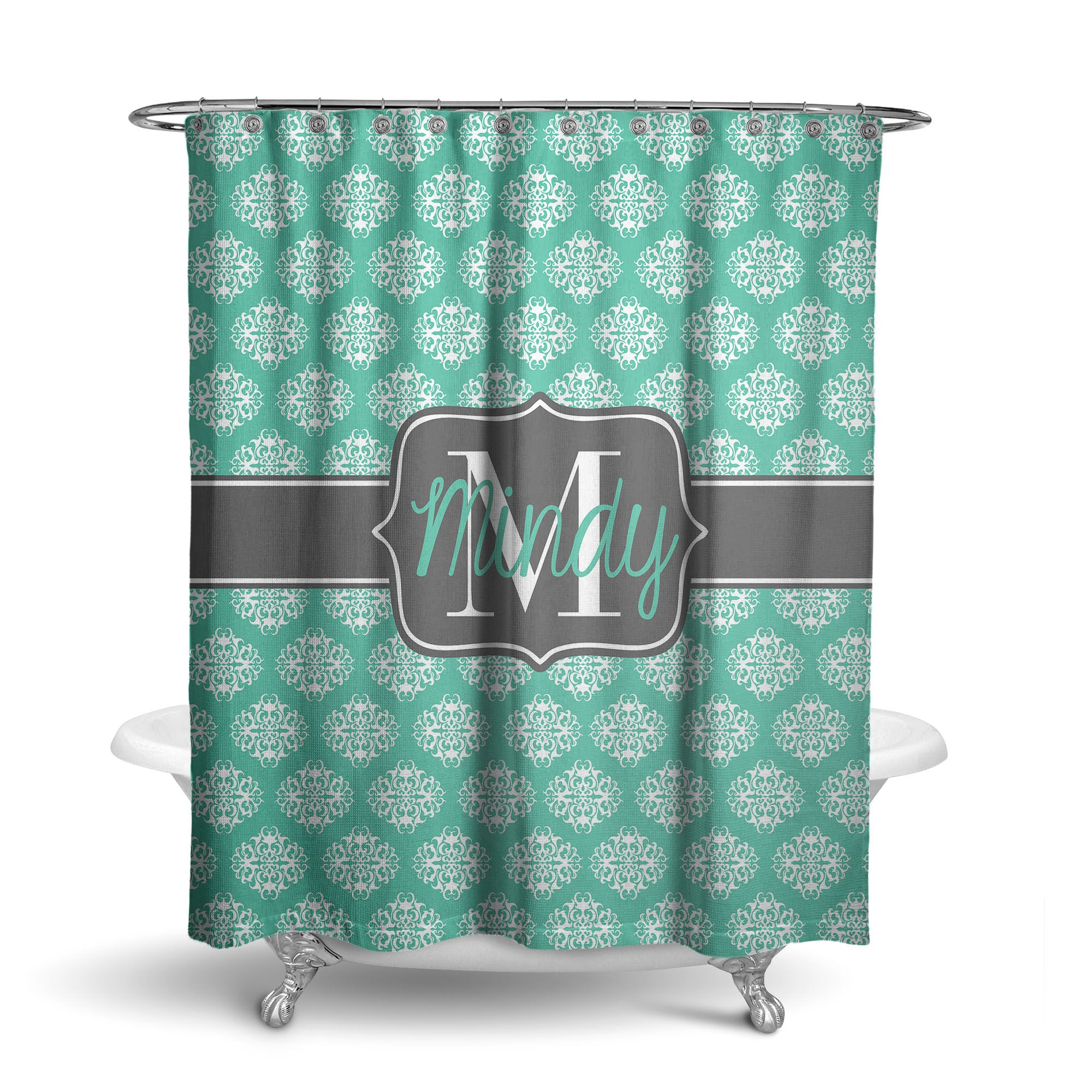 Mod Damask Monogram Shower Curtain (SC1019)