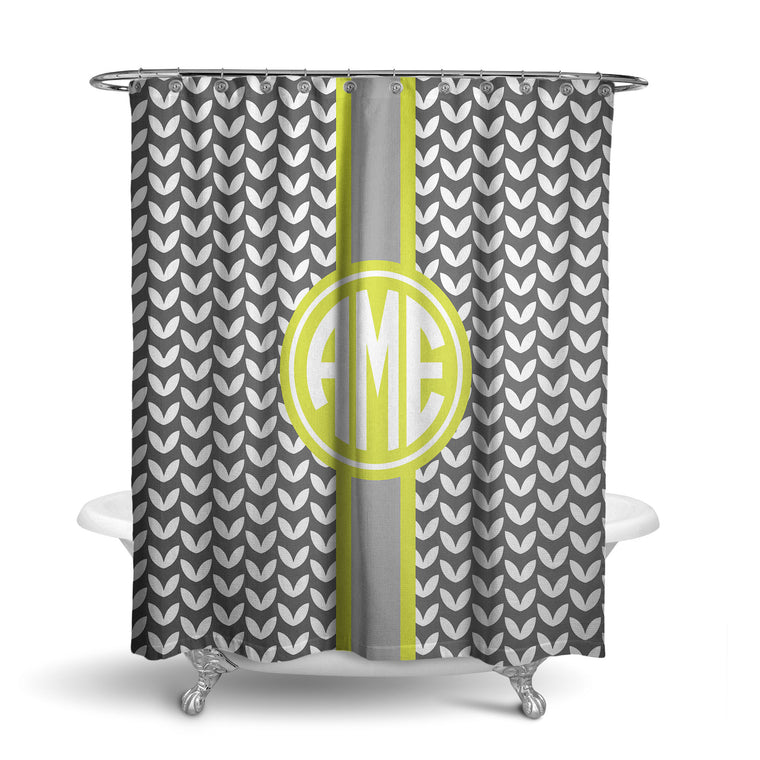 Mod Leaves Monogram Shower Curtain (SC1020)