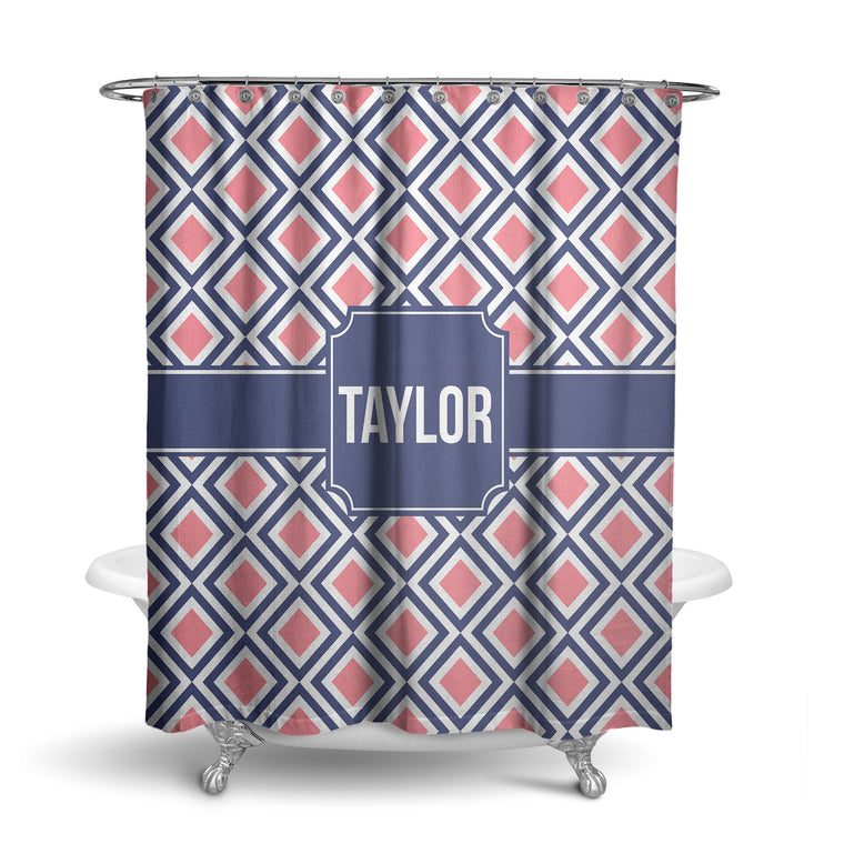 Mod Squares Monogram Shower Curtain (SC1022)