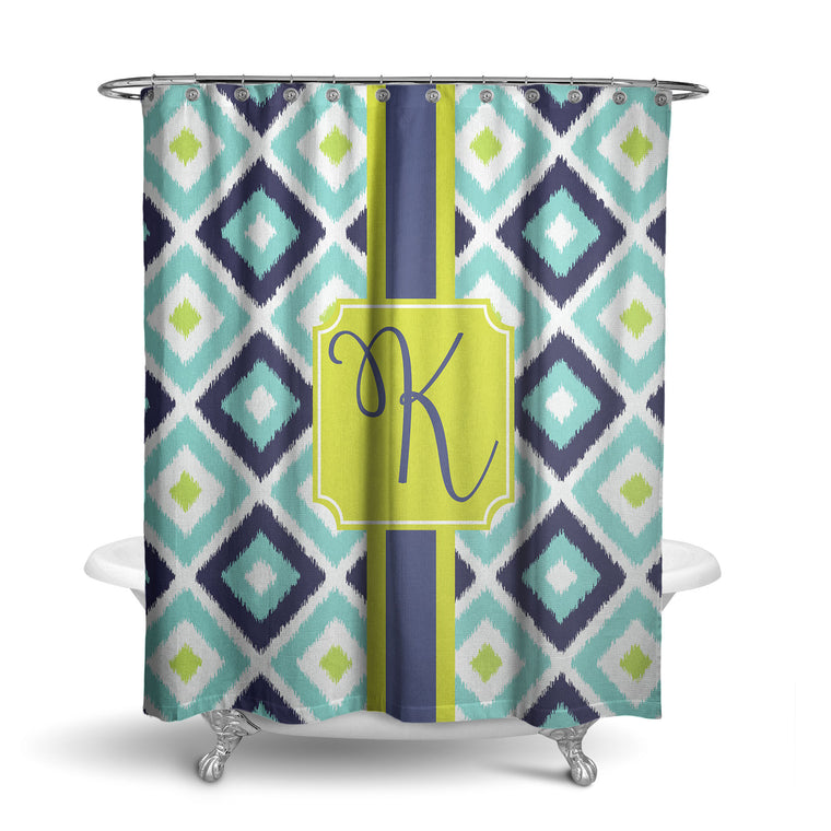 Multi Ikat Monogram Shower Curtain (SC1024)