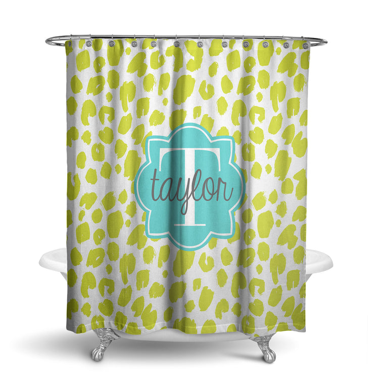 Painted Leopard Monogram Shower Curtain (SC1025)