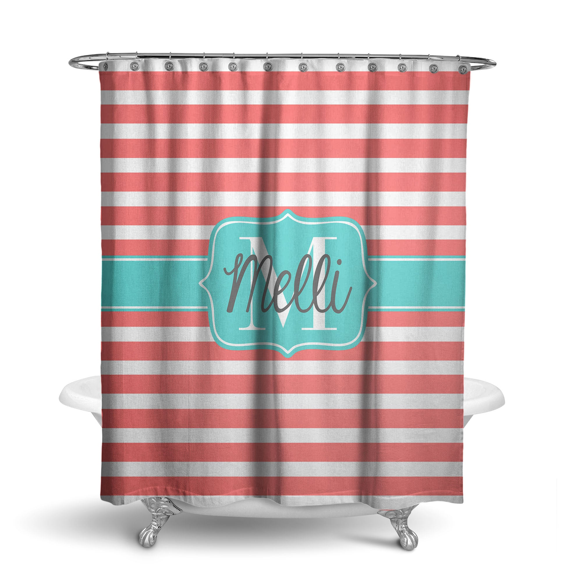 Rugby Stripes Monogram Shower Curtain (SC1029)