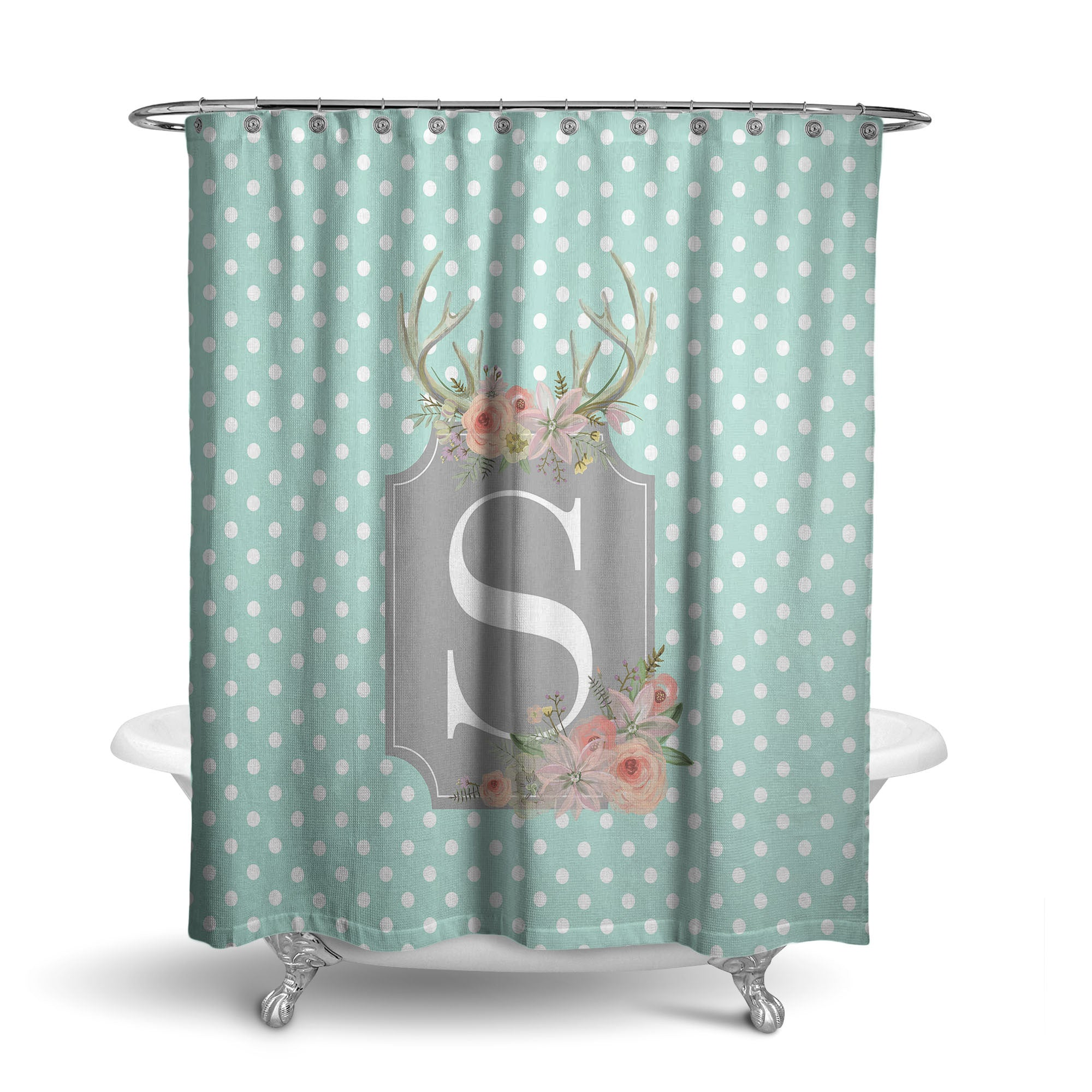 Floral Antler Frame Monogram Shower Curtain (SC1035)