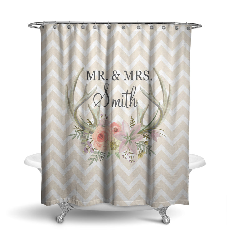 Floral Antlers Monogram Shower Curtain (SC1036)