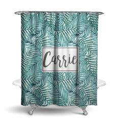 Palm Leaves Monogram Shower Curtain (SC1039)