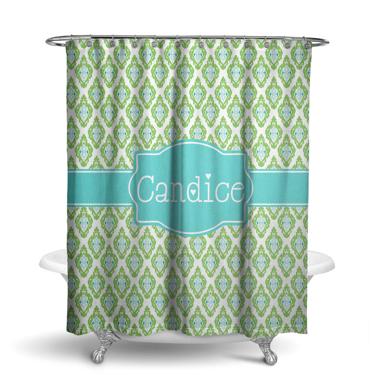 Lemon Lime Ikat Monogram Shower Curtain (SC1042)