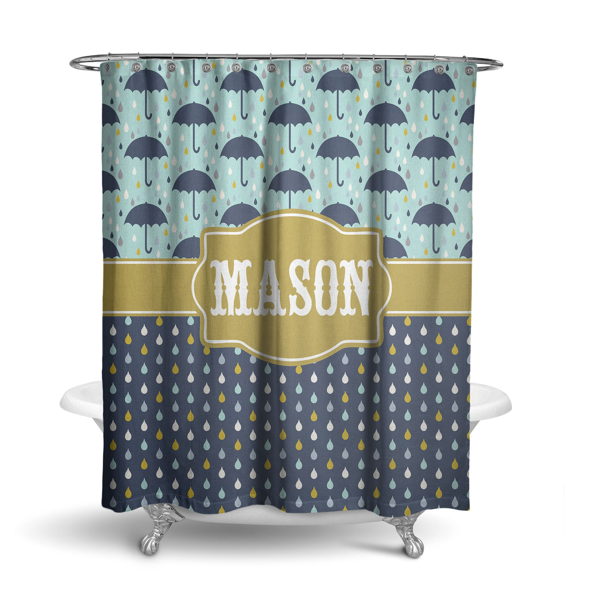 Stormy Umbrella Monogram Shower Curtain (SC1044)