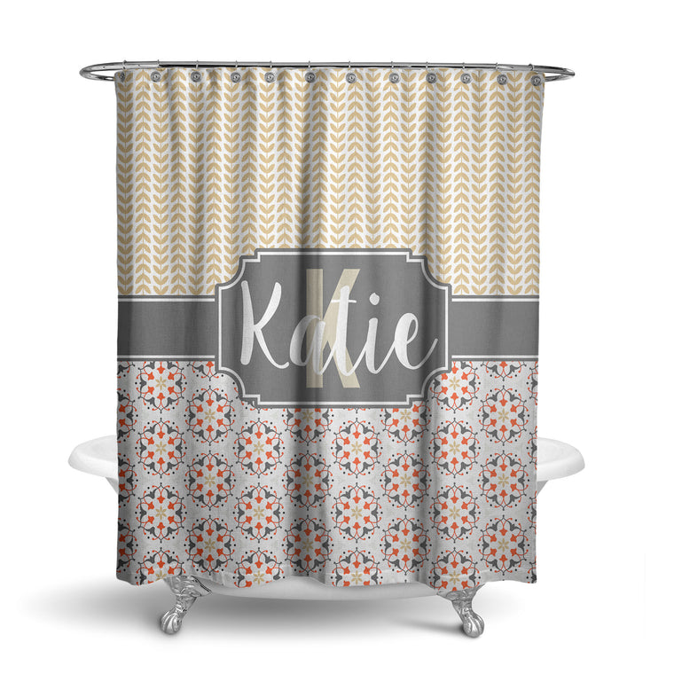 Modern Orante Monogram Shower Curtain (SC1052)