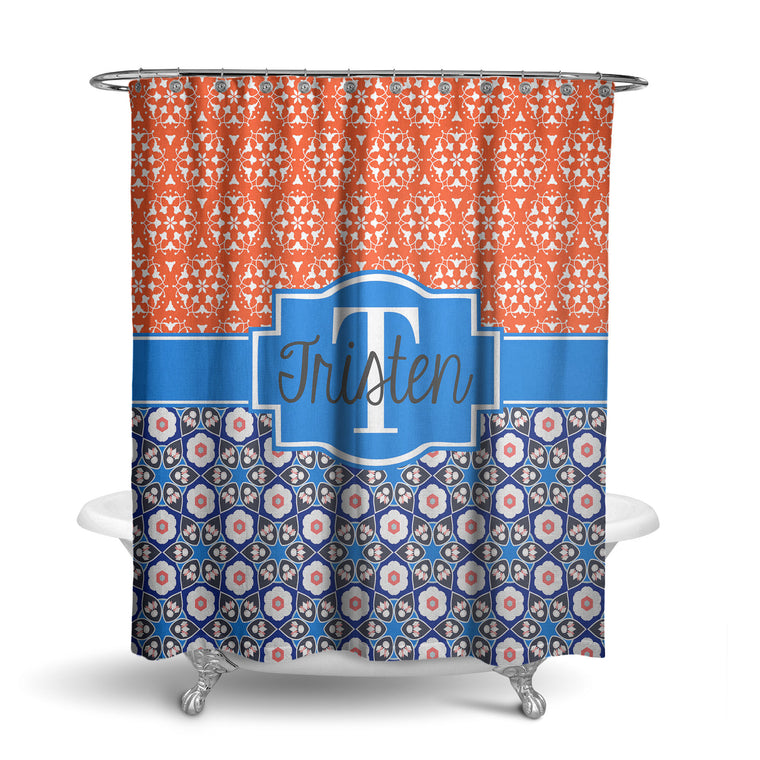Floral Ornate Monogram Shower Curtain (SC1053)