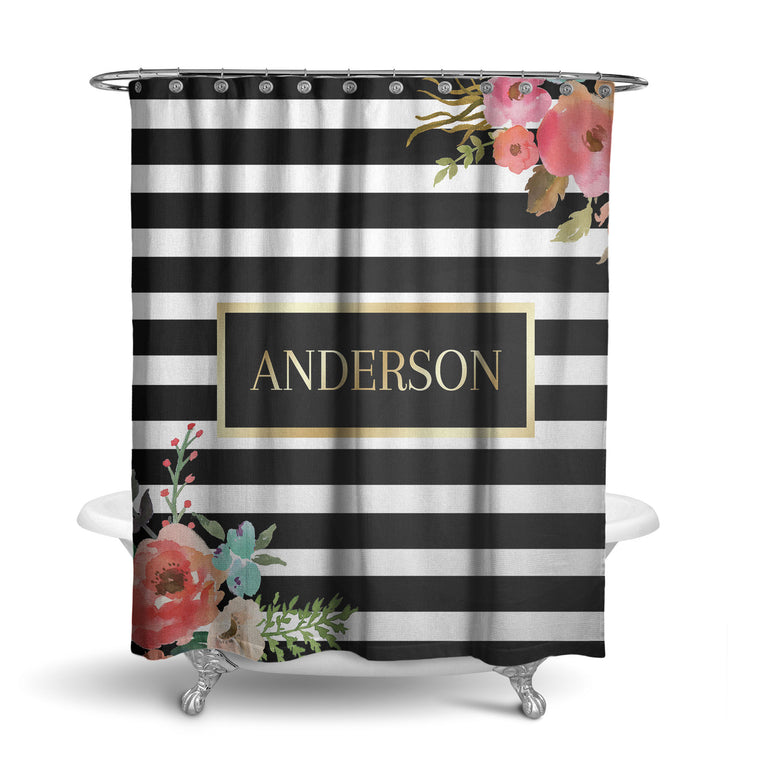 Gold Floral Monogram Shower Curtain (SC1056)